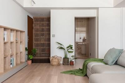 Căn hộ có nội thất bằng gỗ công nghiệp, đồng nhất các phòng